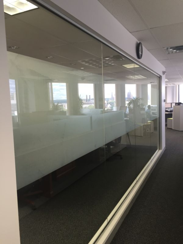 decorative privacy window film in office space