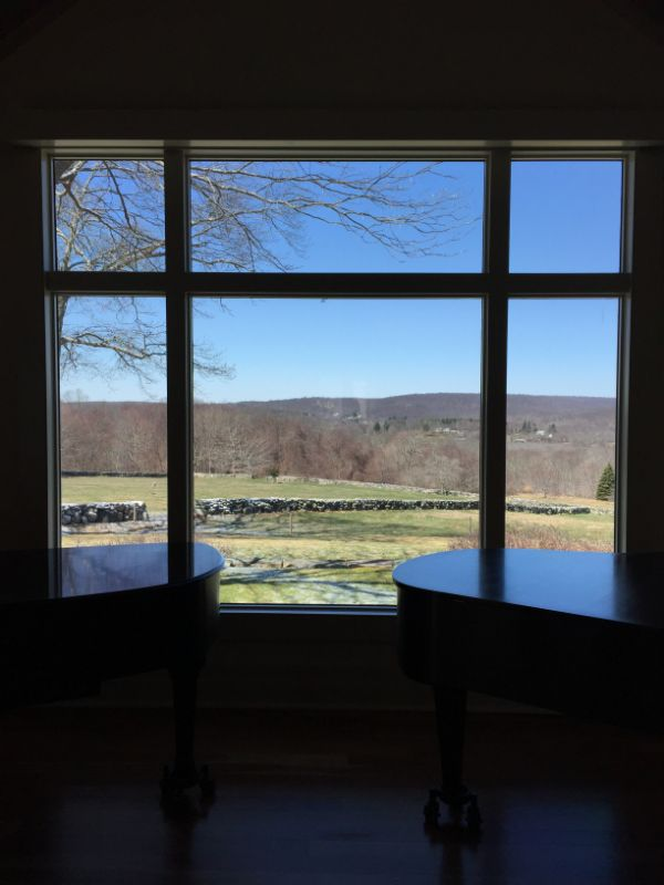 large residential window with window film