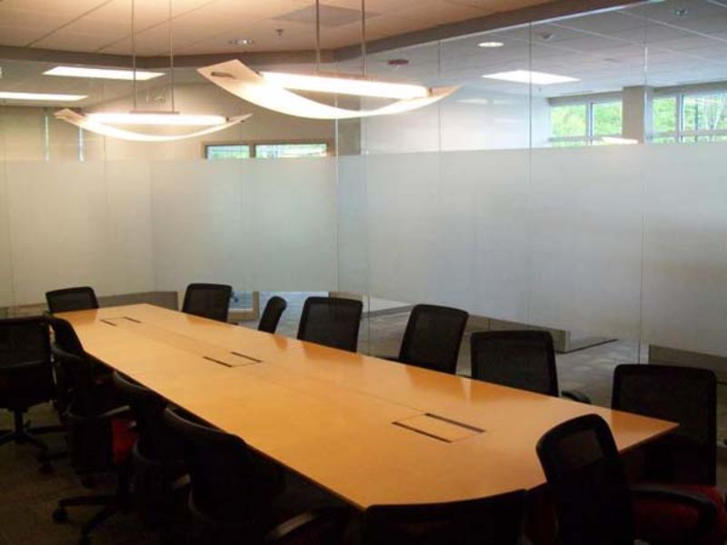 frosted glass decorative privacy window film in conference room
