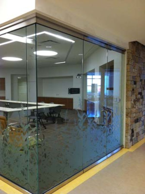 decorative window film on glass conference room wall