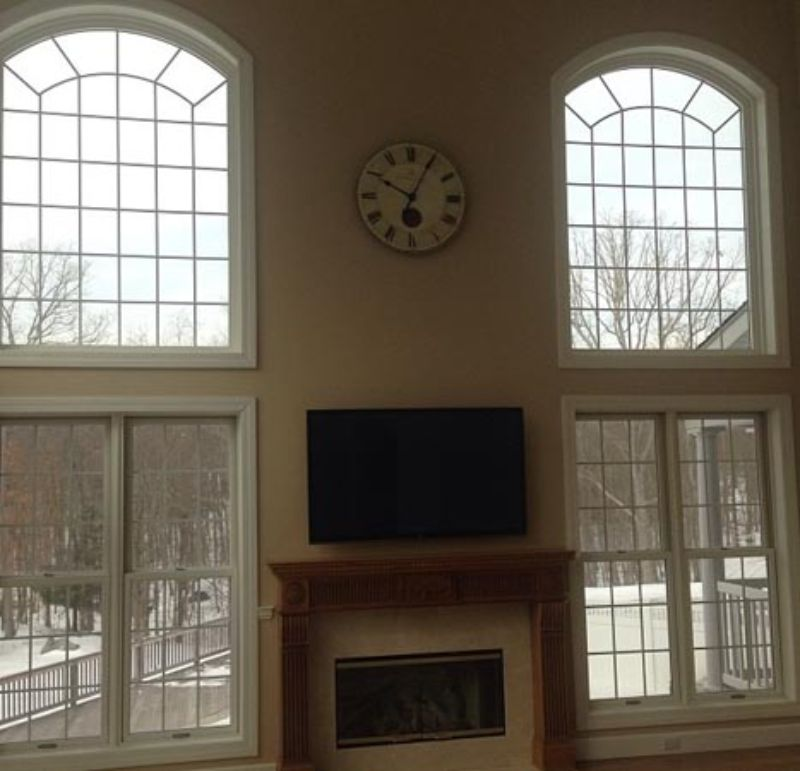windows in living room of house