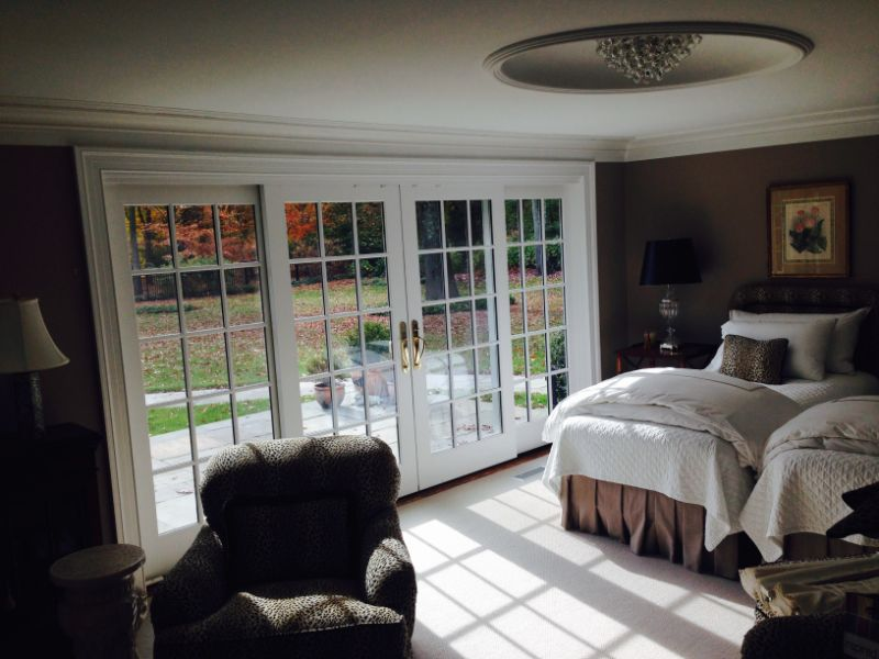 bedroom with large glass doors