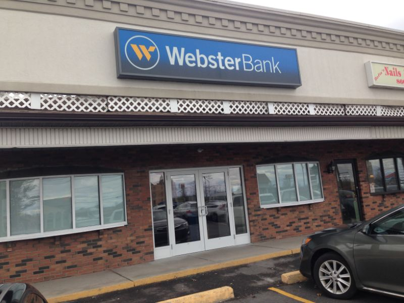 commercial window film application at Webster Bank