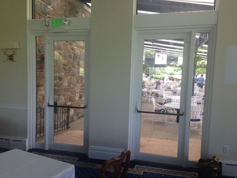 commercial window film application at golf club