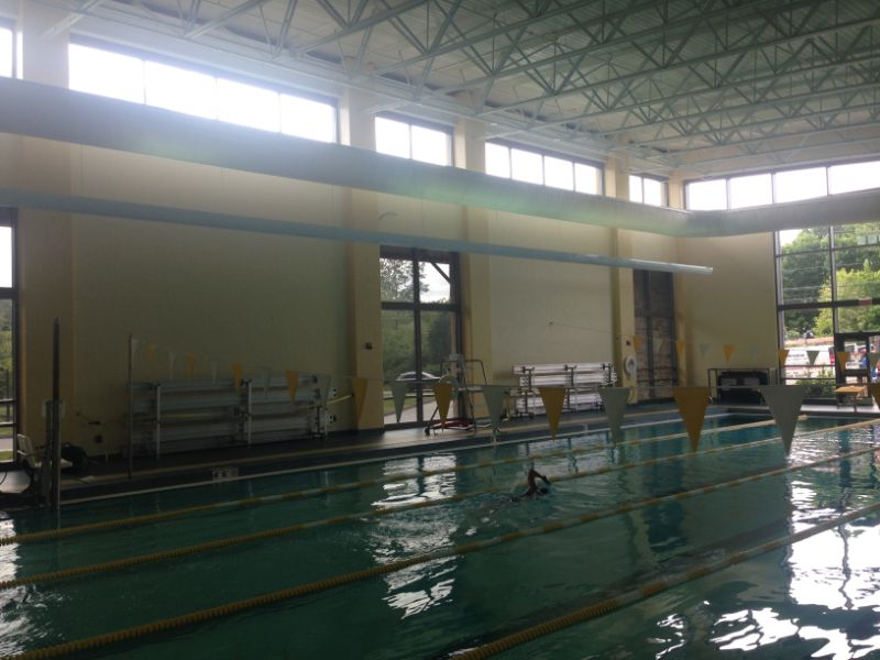 commercial window film installation at indoor pool